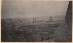 Jerusalem and the Dome of the Rock in the background from the Mount of Olives